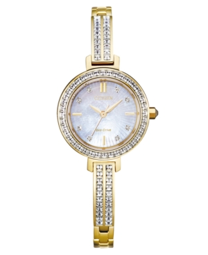 Eco-Drive Women's Gold-Tone Stainless Steel & Crystal Bangle Bracelet Watch 25mm