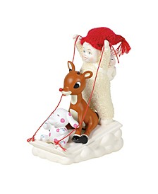 Snowbabies Sledding with Rudolph