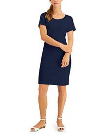 Karen Scott Plus Size Cotton Button-Shoulder Dress, Created for Macy's