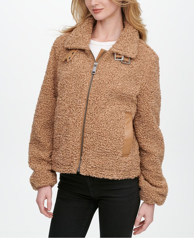 DKNY Fleece Moto Teddy Coat