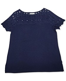 Plus Size Solid Eyelet-Yoke Knit Top, Created For Macy's