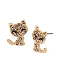 Cubic Zirconia Cat Stud Earrings