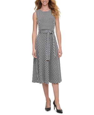 Calvin Klein HOUNDSTOOTH-PRINT A-LINE DRESS