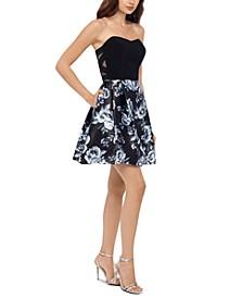 Juniors' Strapless Floral-Print Dress