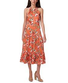 Halter Floral-Print Tiered Midi Dress