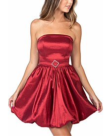 Juniors' Strapless Bubble-Hem Dress