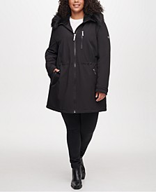 Plus Size Faux-Fur Hooded Raincoat