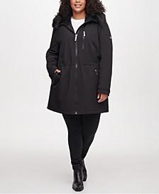 Plus Size Faux-Fur Hooded Raincoat