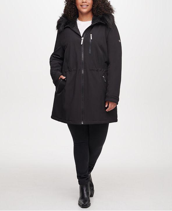 Calvin Klein Plus Size Faux-Fur Hooded Raincoat
