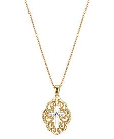 Gratitude & Grace Filigree Cross Pendant Necklace in Fine Silver-Plate & Gold-Flash