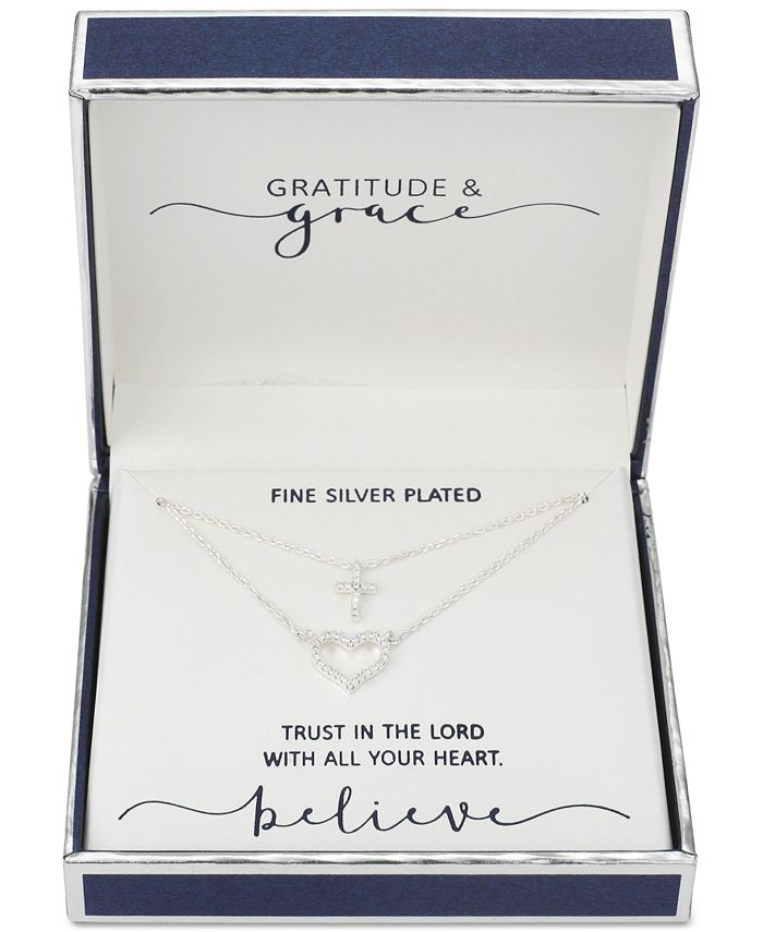 """Unwritten - Cubic Zirconia Heart and Cross Layered Pendant Necklace in Fine Silver-Plate, 16"""" + 2"""" extender"""