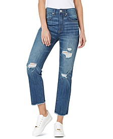Ripped High Rise Frayed-Hem Denim Jeans