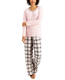 Petite Mixit Solid Top & Plaid Flannel Pajama Pants Set, Created for Macy's