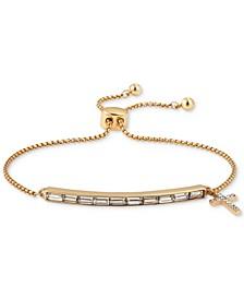 Gratitude & Grace Crystal Baguette & Cross Charm Bolo Bracelet in Gold-Flash