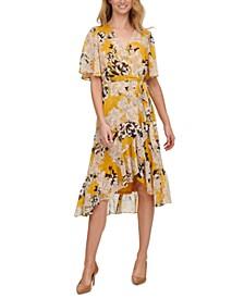 Floral-Print Crinkle-Chiffon Midi Dress