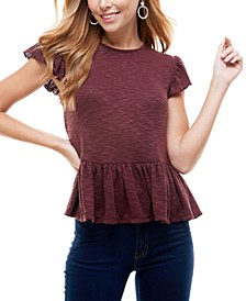 Juniors' Peplum-Hem Top