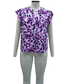 Petite Flutter-Sleeve Printed Top, Created for Macy's