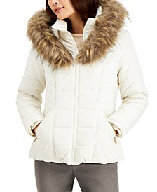 Juniors' Hooded Faux-Fur-Trim Puffer Coat