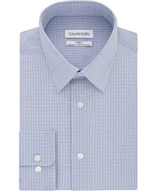 Calvin Klein Men's Steel Classic/Regular-Fit Non-Iron Performance Stretch Check Dress Shirt