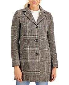 Juniors' Plaid Walker Coat, Created for Macy's