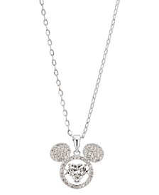 "Crystal Mickey Mouse Dancing Heart Pendant Necklace in Fine Silver-Plate, 16"" + 2"" extender"