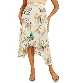 Maritza Floral-Print Faux-Wrap Ruffled Skirt