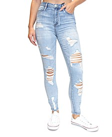 Juniors' Destructed High-Rise Skinny Jeans
