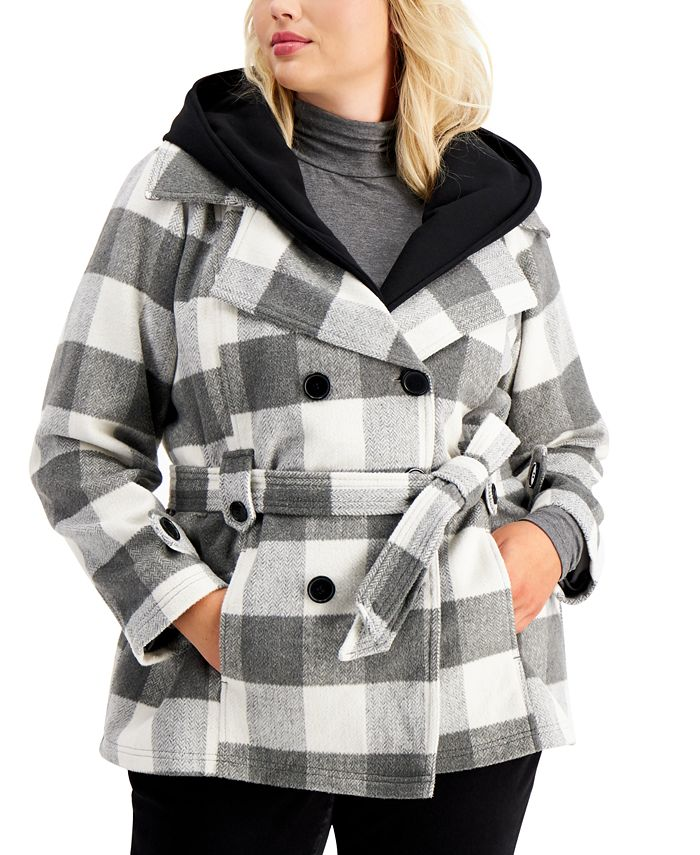 Jou Jou - Trendy Plus Size Double-Breasted Belted Coat