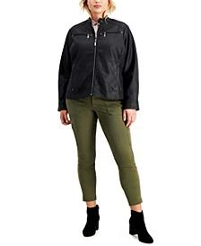 Juniors' Trendy Plus Size Faux-Leather Jacket