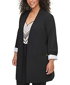 Plus Size Collarless Open-Front Topper Jacket
