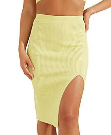 GUESS Kalani Thigh Slit Sweater Midi Skirt