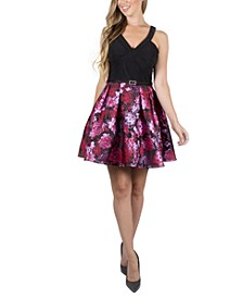 Juniors' Floral-Skirt Dress