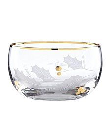 Holiday Gold Glass Nut Bowl