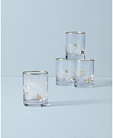 Holiday Gold Double Old Fashioned 4-piece Glass Set