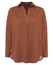 Textured Drop-Shoulder V-Neck Top