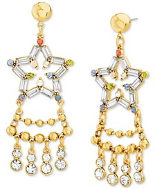 Gold-Tone Round & Baguette-Stone Star Statement Earrings
