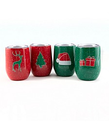4 Pack Of 12 Oz Holiday Wine Tumblers