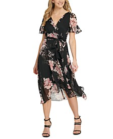 Floral-Print Faux-Wrap Dress