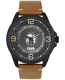 INC Men's Brown Faux-Leather Strap Watch 48mm, Created for Macy's
