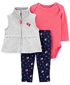 Baby Girl 3-Piece Quilted Little Vest Set