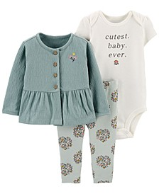 Baby Girl 3-Piece Little Cardigan Set