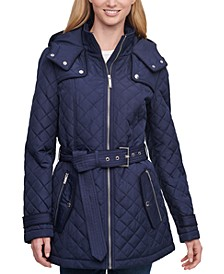 Belted Hooded Quilted Coat, Created for Macy's
