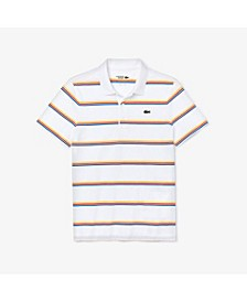 Men's SPORT Short Sleeve Polo Shirt with Tricolor Horizontal Stripes