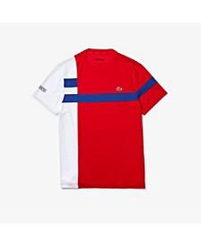 Men's SPORT Short Sleeve Crew Neck Performance Two-Tone Asymmetric Striped T-shirt