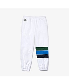 Men's SPORT Diamond-Weave Performance Track Pants with Tricolor Stripes