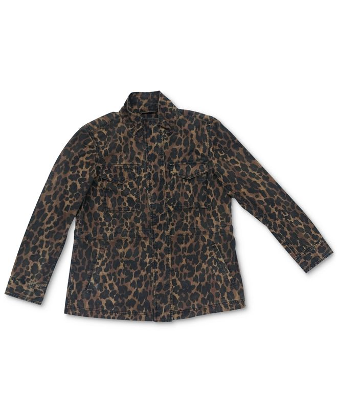 Style & Co Cotton Animal-Print Utility Jacket, Created for Macy's