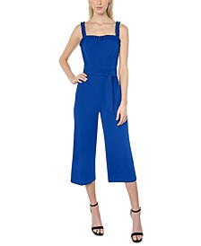 Juniors' Ruffle-Strap Jumpsuit