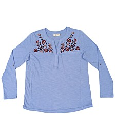 Plus Size Embroidered Knit Top, Created For Macy's