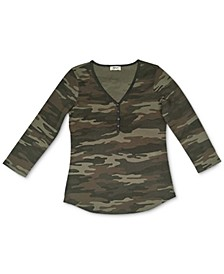 Camo Waffle-Knit Henley Top, Created for Macy's