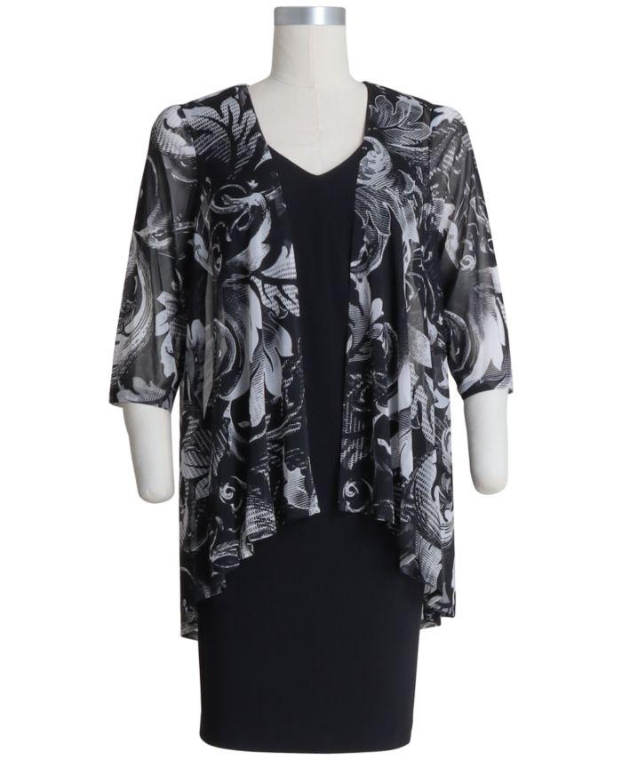 Connected Plus Size Printed Jacket Dress & Reviews - Dresses - Plus Sizes - Macy's